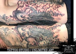 Tattoo-Erweiterung / Weinende Frau, Mann mit gebrochenem Herz Tattoo