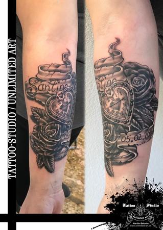 Herzuhr mit Rosen & Banner Tattoo /  Heart Clock With Roses & Banner Tattoo / Forearm Tattoo