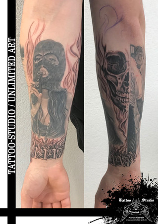 Mädchen mit Pistole Tattoo / Totenkopf Tattoo // Girl With Gun Tattoo / Skull Tattoo