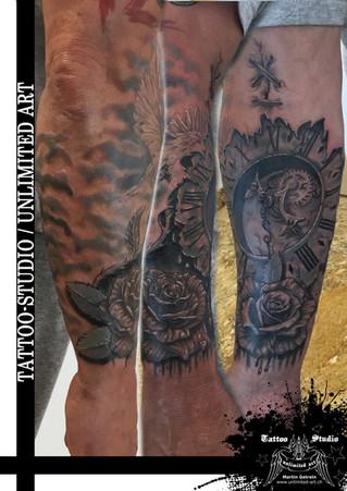 Taube mit Uhr & Rosen Tattoo // Dove With Clock & Rose Tattoo