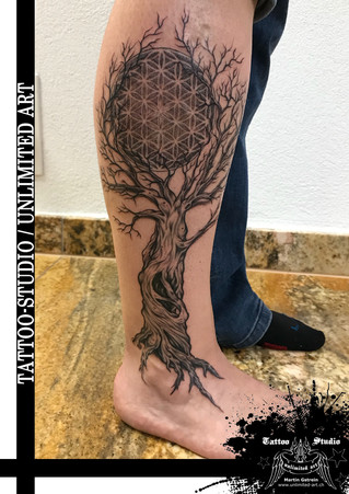 Lebensbaum mit Lebensblume Mädchen Tattoo // Tree Of Life With Flower Of Life Girly Tattoo