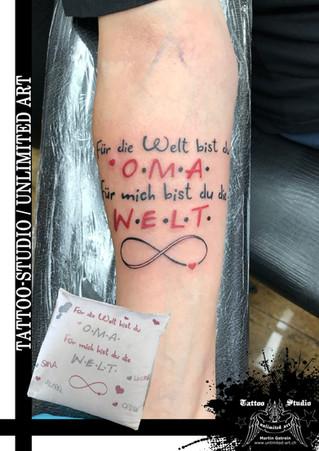 Oma Unterarm Schrift Tattoo / Grandma Forearm Font Tattoo