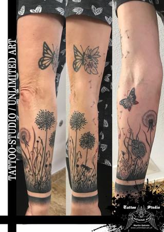 Schmetterling, Käfer & Pusteblumen Tattoo // Girly Tattoo / Butterfly, Beetle & Dandelion Tattoo