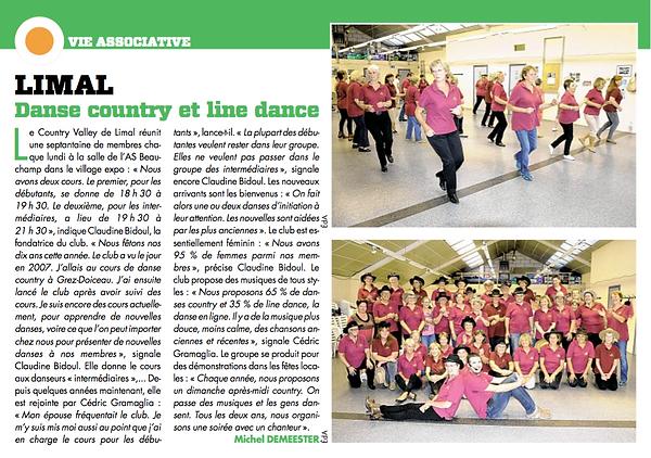 Article sur notre club de danse Country Valley Limal août 2017