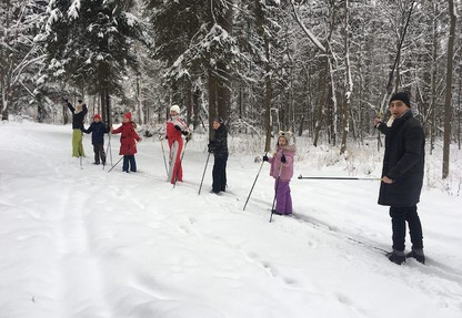 На лыжах по лесу