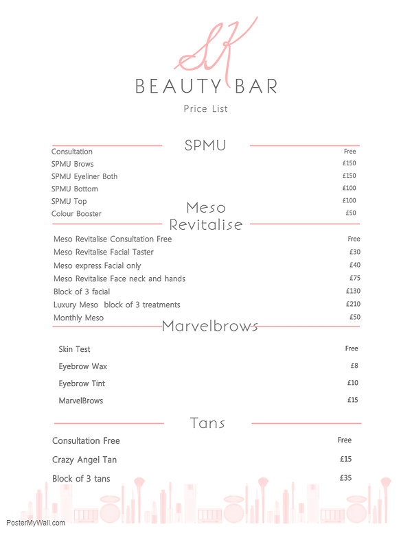 Copy of Elegant Beauty Price List Flyer