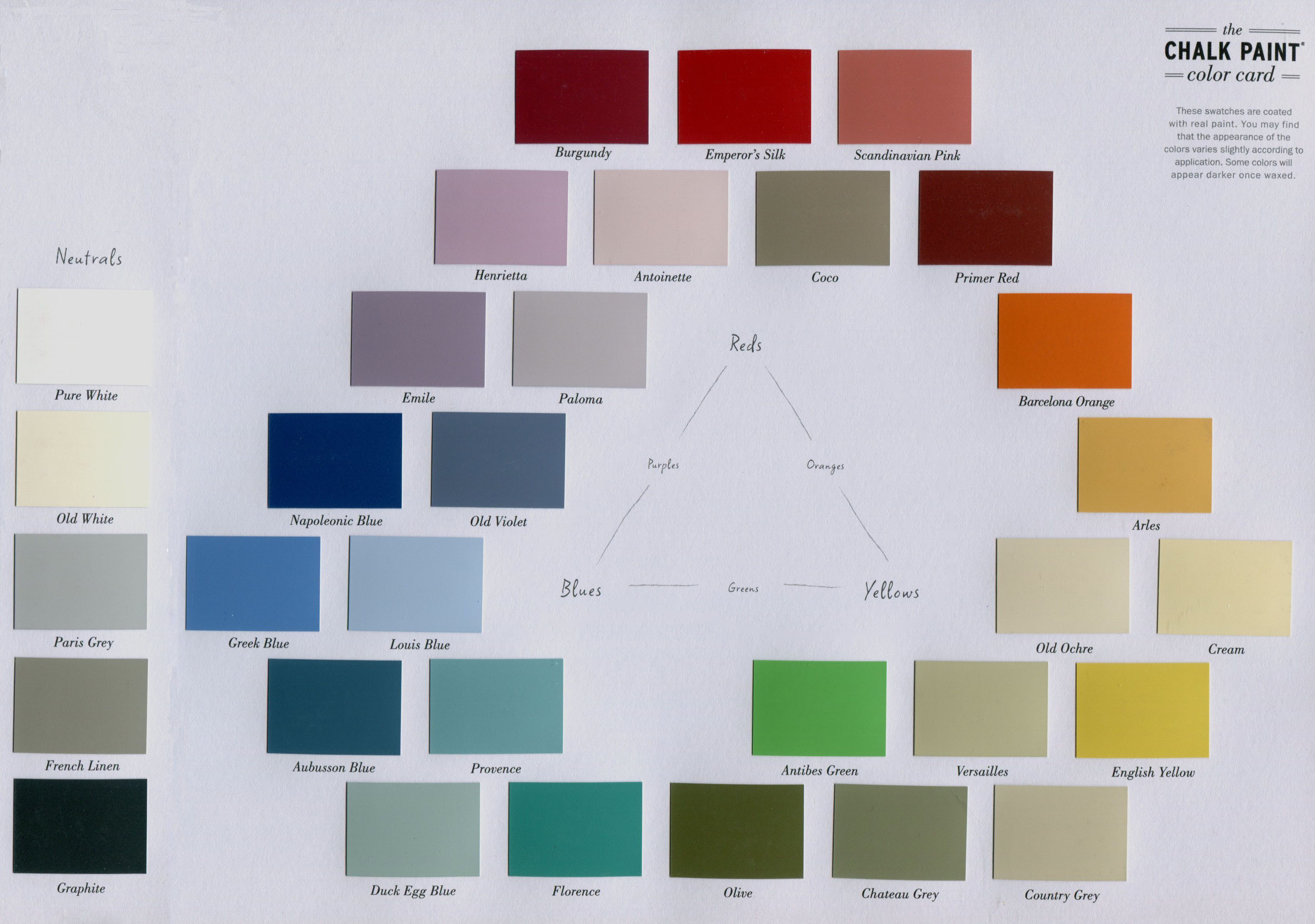 annie sloan chalk paint colour chart