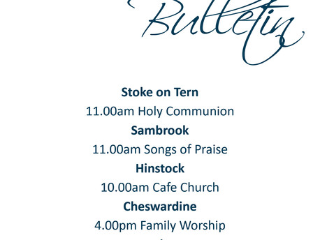 Services for Sunday 16th February