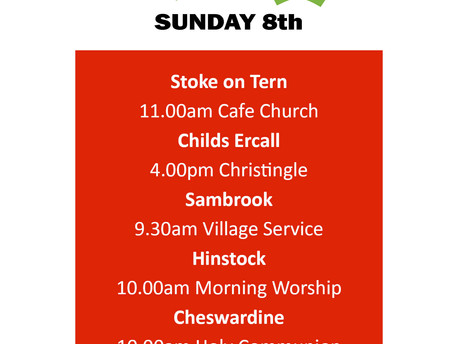 Services this Sunday 8th December