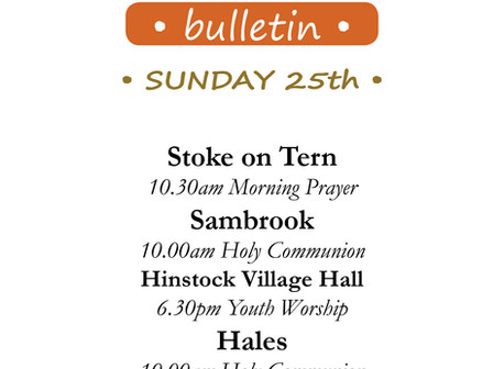 Services for Sunday 25th October