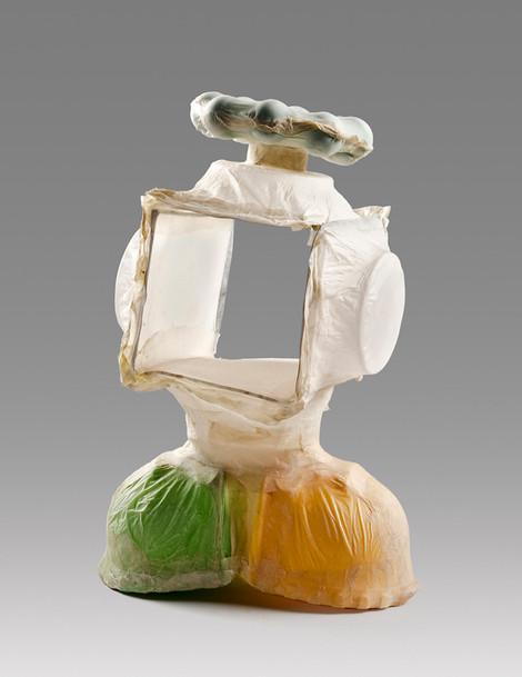 NL03, 2016, handmade abaca over salvaged plastics, 10 x 7 x 5 inches