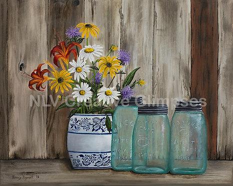 Mason Jars & Garden Flowers