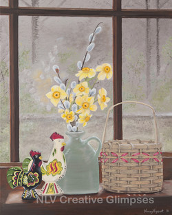 Dala Rooster and Daffodils