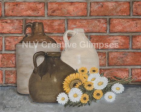 Jugs & Sunflower bouquet