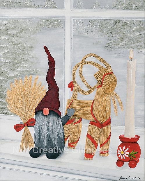 Tomte, Julbock and Red Ball Candle