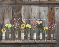 Barnboard and flowers