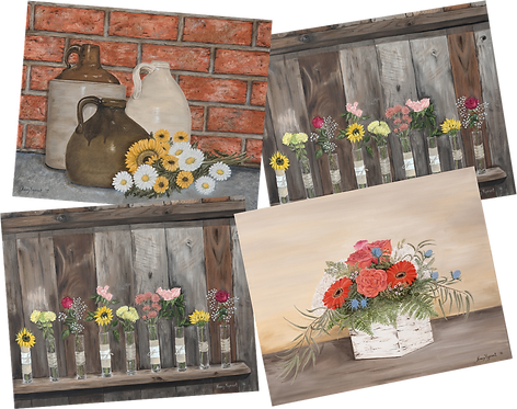 Country Floral Note Cards / 4 pack with envelopes