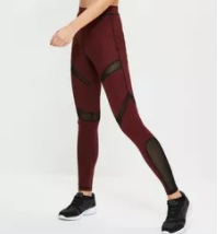 active burgundy mesh leggings  £15