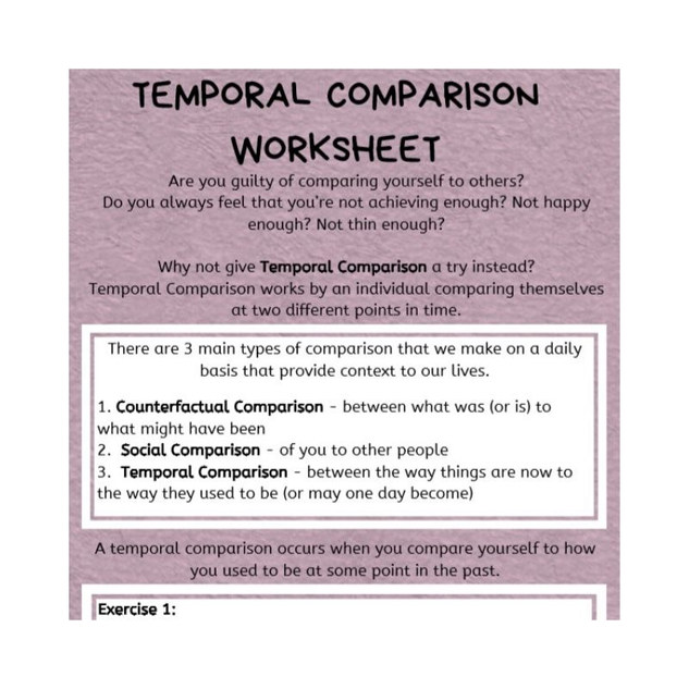 Temporal Comparison Worksheet