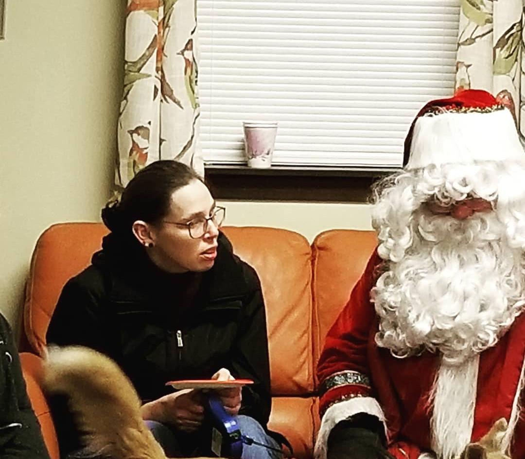 Going over her Christmas list