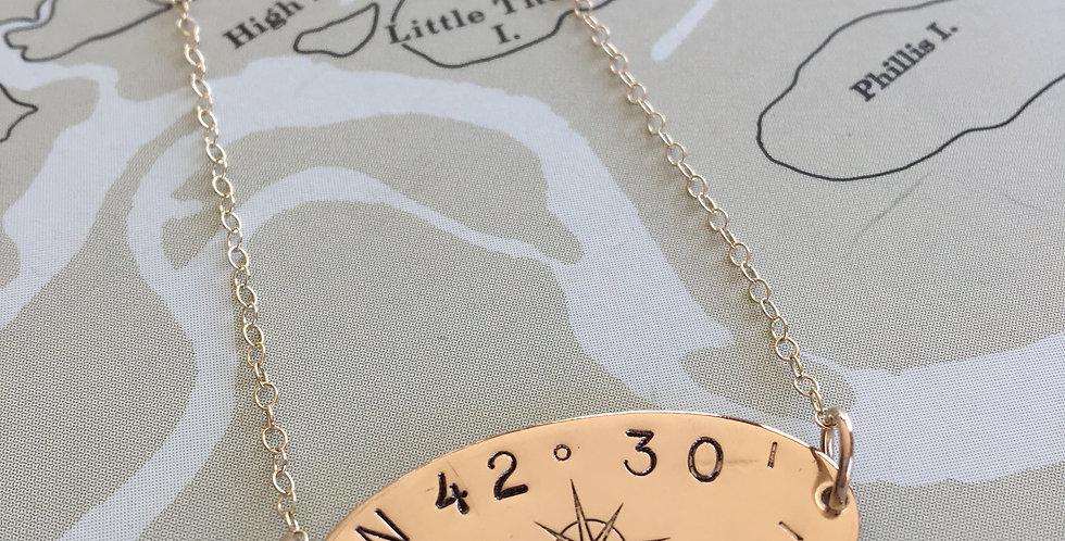 Horizon Compass Rose Gold Necklace