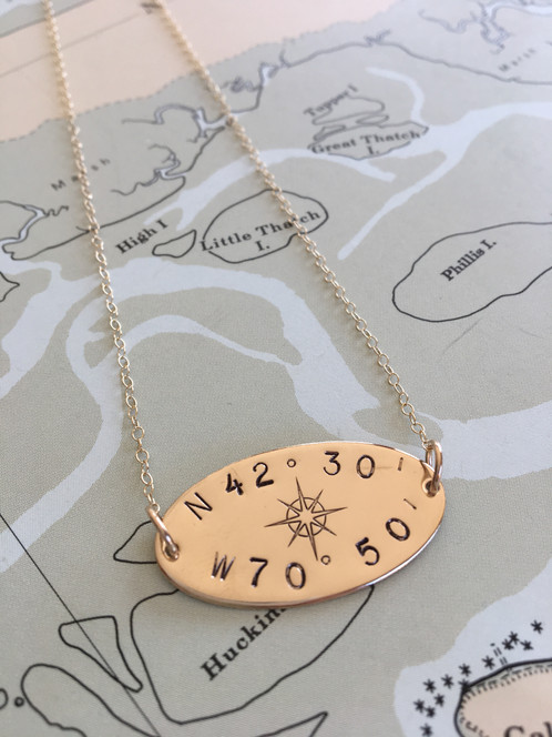 586453377 Our truly one-of-a-kind gold fill oval disc necklace personalized with your  custom latitude longitude coordinates and our own Compass Rose design in  the ...