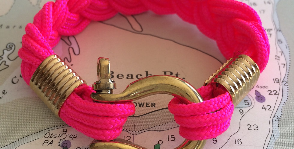 Summer Bracelet Brass Shackle: Pink