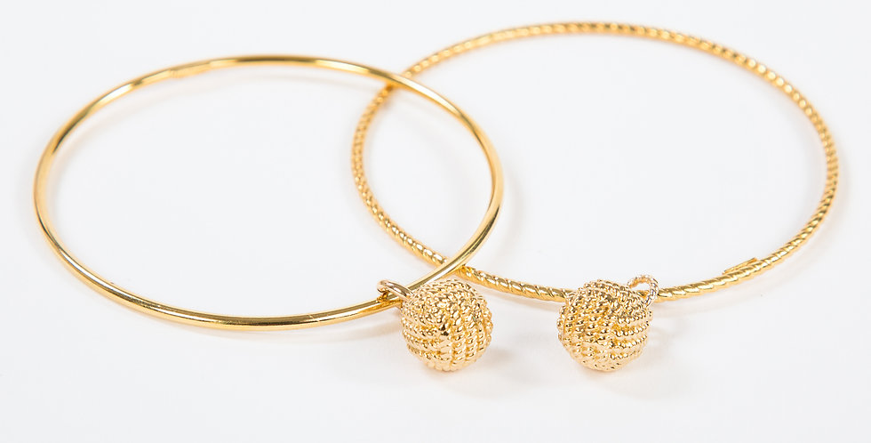 Monkey Fist Bangle 14kt gold dipped