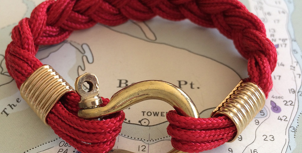 Summer Bracelet Brass Shackle: Red