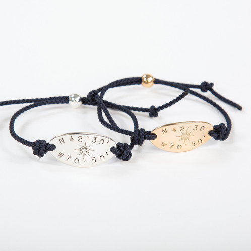 44e511b03 ... ($55) or gold fill ($65) oval disc bracelet personalized with your  custom latitude longitude coordinates and our own Compass Rose design in  the center.