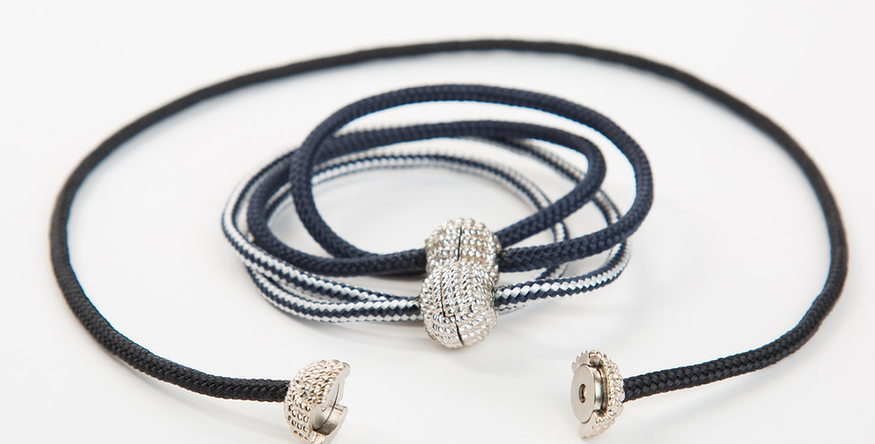 Captain's Cord Double Wrap Bracelet: Pewter