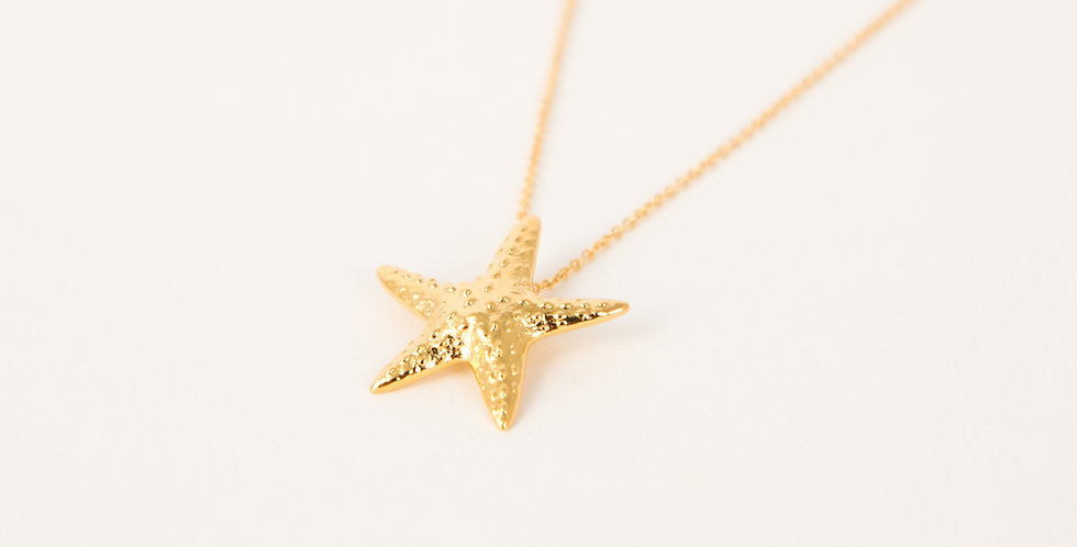 Marblehead Starfish Necklace 14kt gold dipped