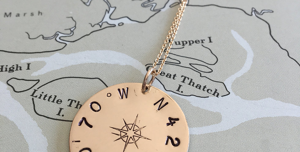 True North Compass Rose Gold Necklace