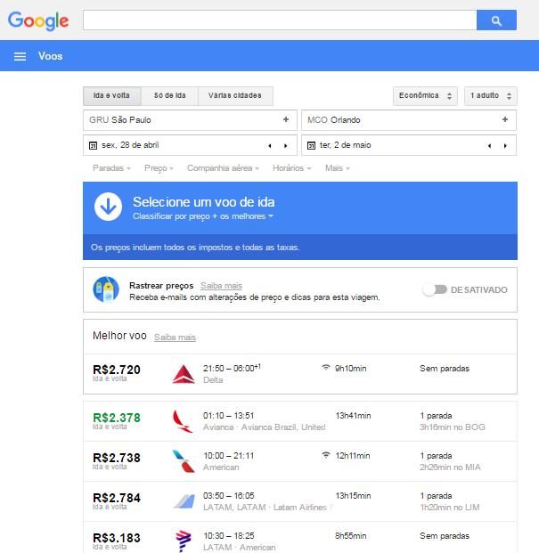 Agora o Google encontra a passagem para você!