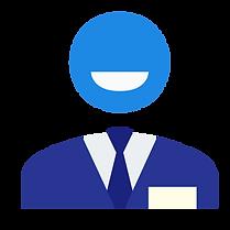 image material design homme d'affaires souriant pour illustrer le bénéfice client conquérir de nouveaux marchés