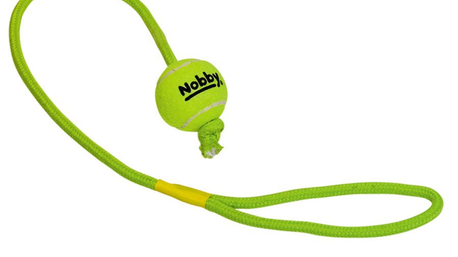 The Nobby Tennis Ball with Throw Rope