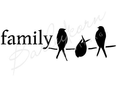 Birds Family Stencil