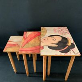 Geisha Decoupage Mid Century Nest of Tables