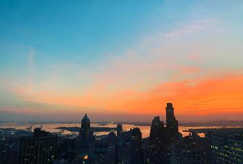 View №6, Orange Sunset/New York Harbor