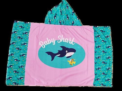 Cape de bain Baby shark Rose