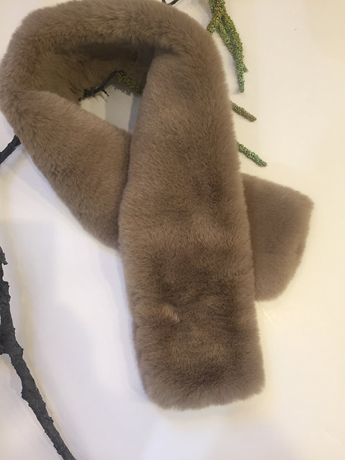 Taupe faux fur scarf