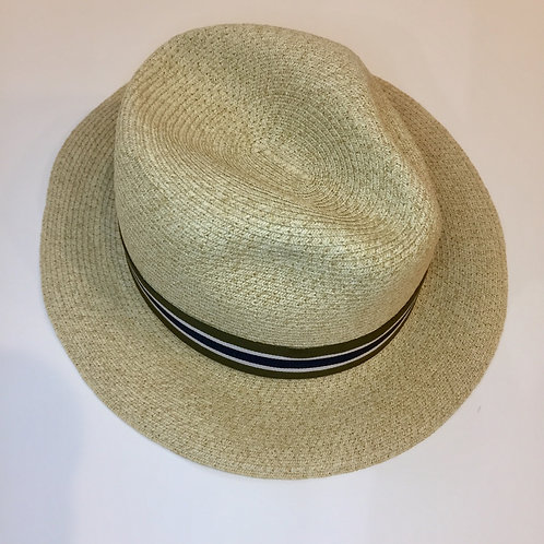 Adjustable sun hat with striped band