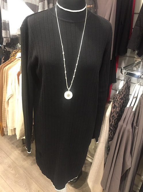 Black knitted dress with white trim