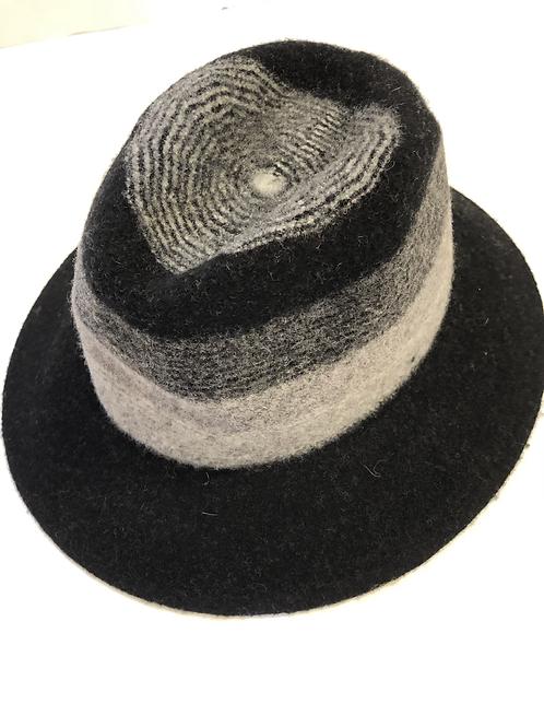 Suzanne Bettley black / grey adjustable felt hat