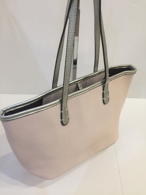 Pale Pink Bag with silver handles and detail