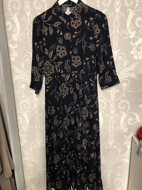 Navy patterned dress Size 8