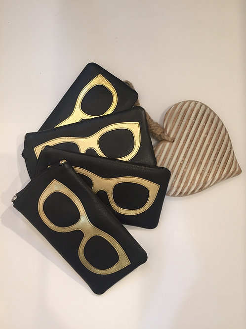 Leather glasses case in black and gold