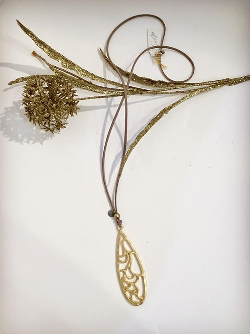 Gaby fashion suede necklace with gold pendant