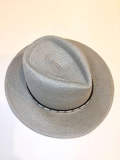 Adjustable silver sun hat with white studded band