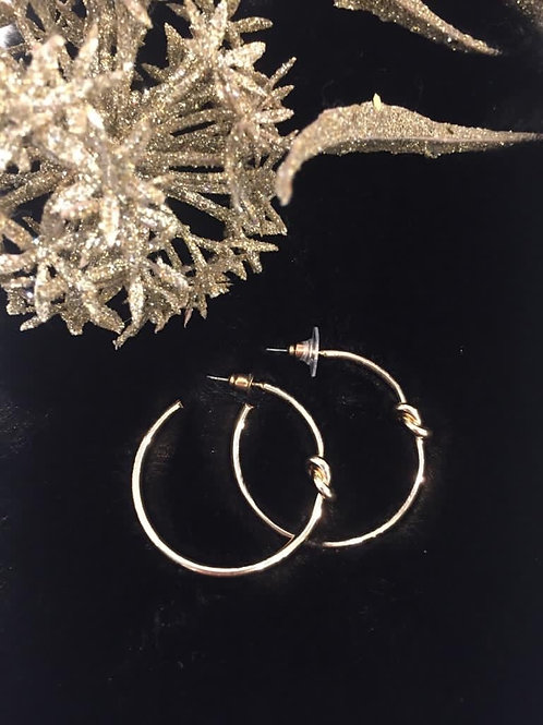 Fashion gold knot hoop earrings